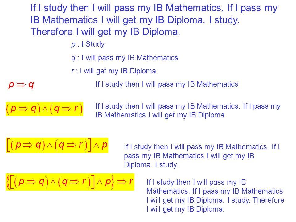 If I study then I will pass my IB Mathematics. If I pass my IB Mathematics I will get my IB Diploma. I study. Therefore I will get my IB Diploma. p :
