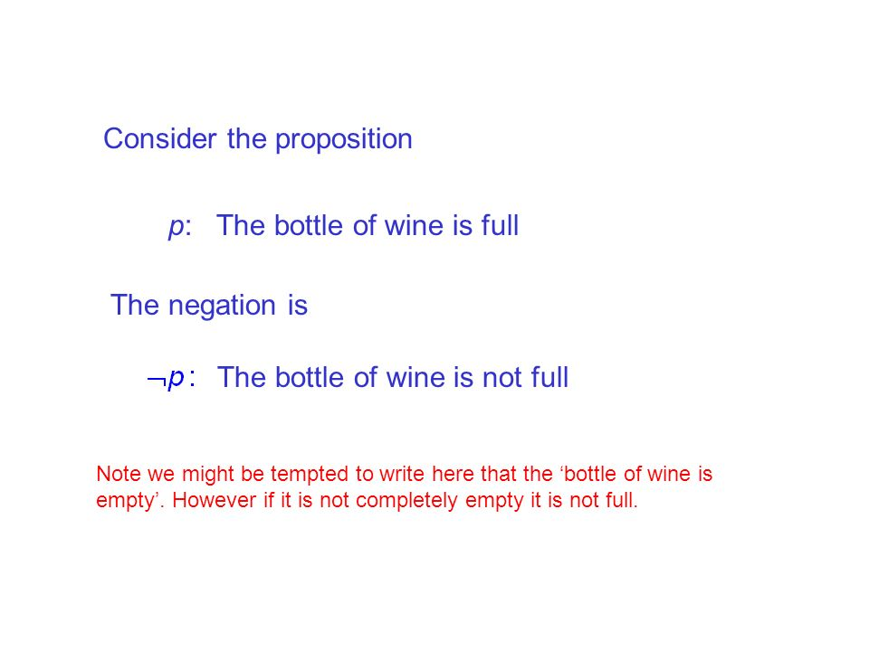 Consider the proposition p: The bottle of wine is full The negation is The bottle of wine is not full Note we might be tempted to write here that the