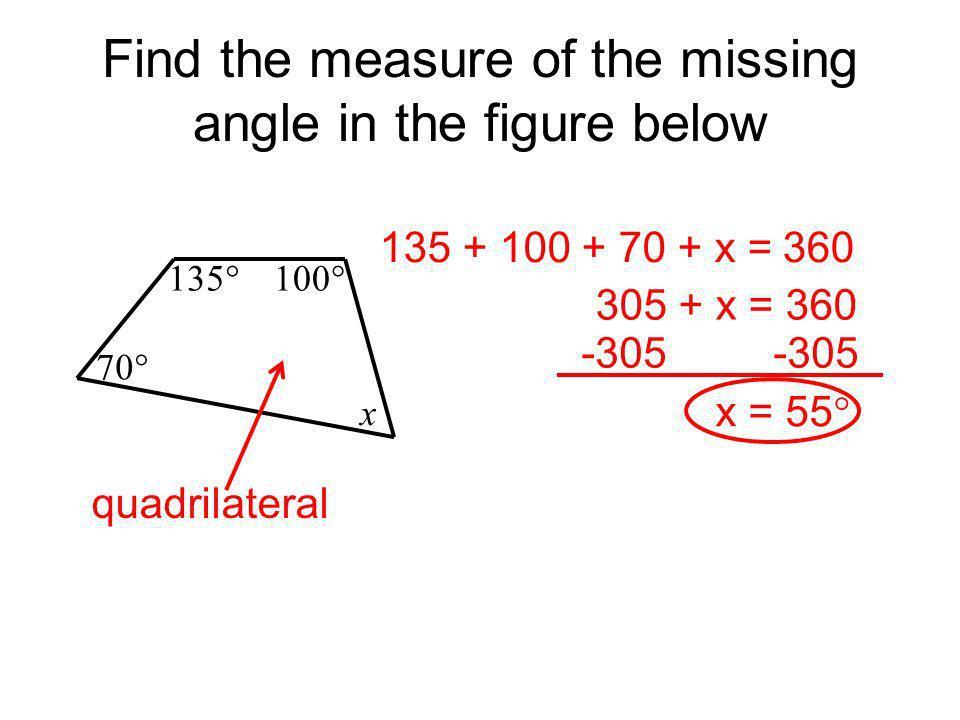 m 1 = 1 2 3 110 (5x - 5) (4x + 15) (8x - 10) pentagon 5x - 5 + 4x + 15 + 8x - 10 + 110 + 90 =540 17x + 200= 540 -200 -200 17x = 340 x = 20 17 17 5(20) - 5 = 95 Find m 1.