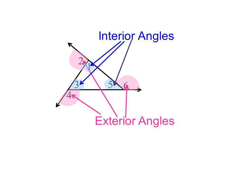 Sum of Interior Angles = Sum of Interior & Exterior Angles = 180 1 2 3 4 5 6 540 Sum of Exterior Angles = 360 540 - 180 = Sums of Exterior Angles 1803 = 540