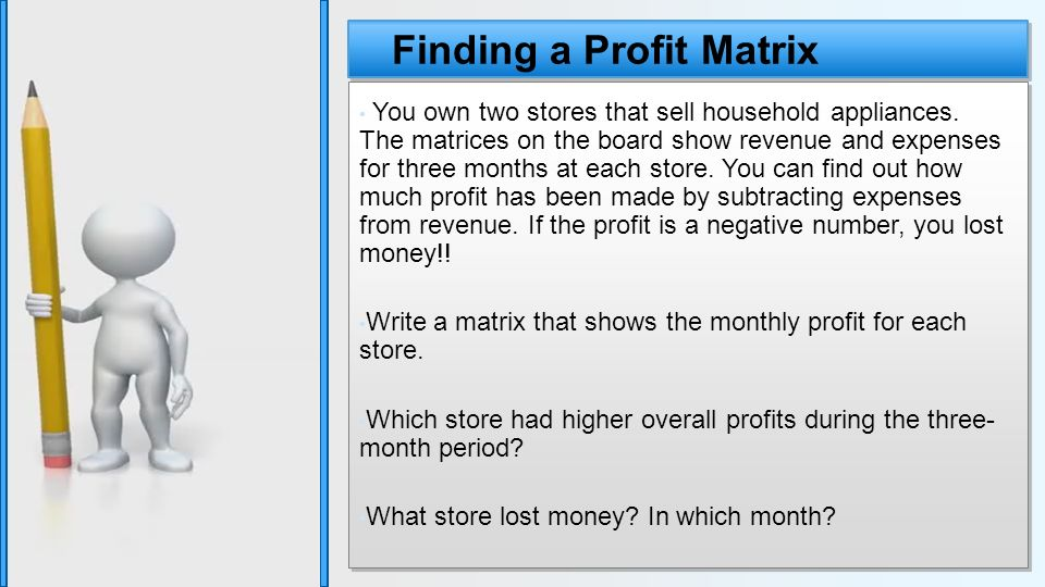 Finding a Profit Matrix You own two stores that sell household appliances.