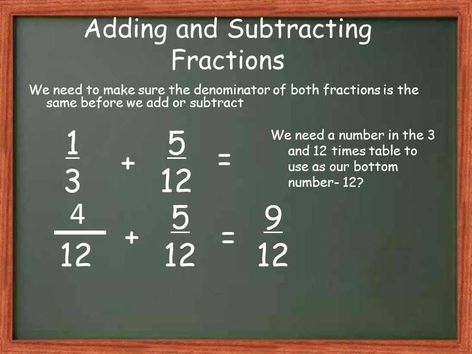 Adding and Subtracting Fractions We need to make sure the denominator of both fractions is the same before we add or subtract 1313 5 12 9 12 + = 5 12 += 4 We need a number in the 3 and 12 times table to use as our bottom number- 12?