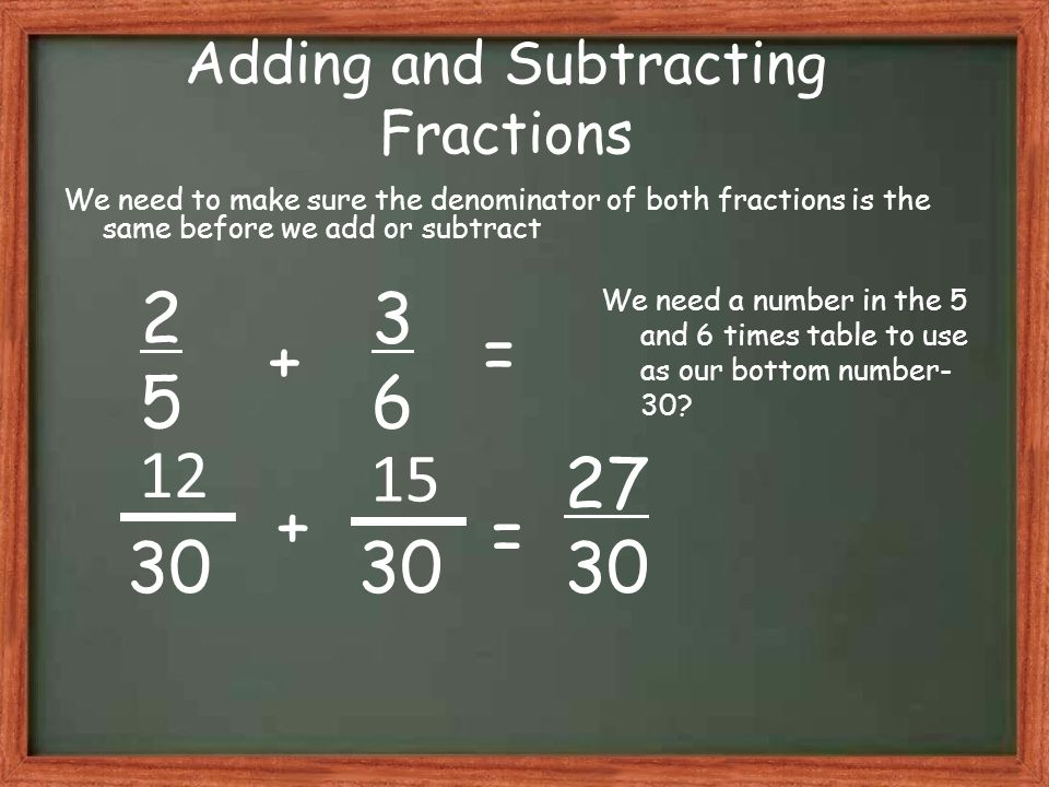 Adding and Subtracting Fractions We need to make sure the denominator of both fractions is the same before we add or subtract 2525 3636 27 30 + = + = 12 We need a number in the 5 and 6 times table to use as our bottom number- 30.