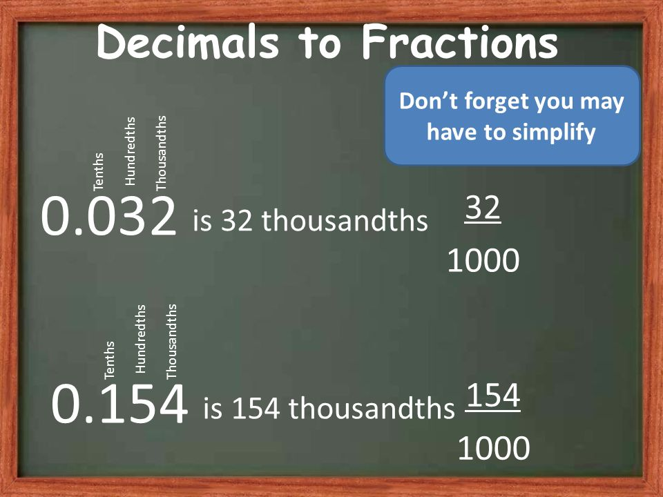 Decimals to Fractions 0.032 is 32 thousandths 32 1000 Tenths Hundredths Thousandths 0.154 is 154 thousandths 154 1000 Tenths Hundredths Thousandths Dont forget you may have to simplify