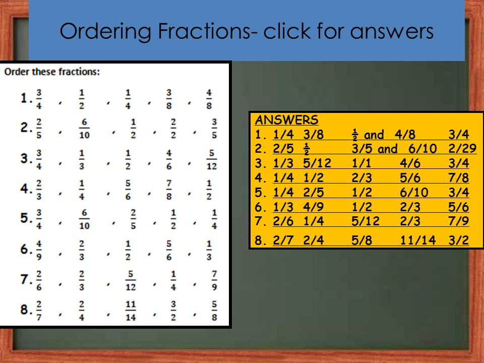 Ordering Fractions- click for answers ANSWERS 1.1/4 3/8½ and 4/83/4 2.2/5½3/5 and 6/102/29 3.1/35/121/14/63/4 4.1/41/22/35/67/8 5.1/42/51/26/103/4 6.1/34/91/22/35/6 7.2/61/45/122/37/9 8.2/72/45/811/143/2