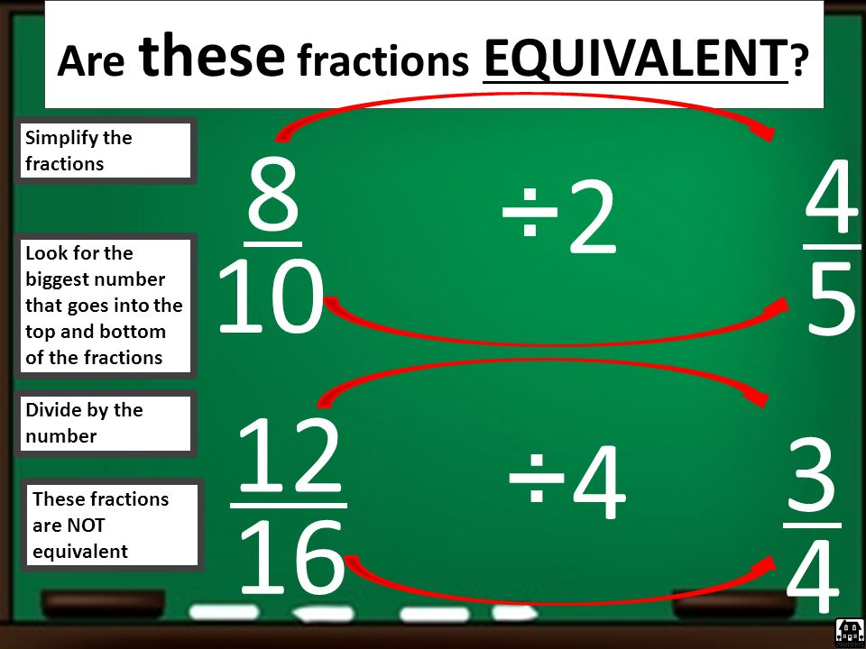 Are these fractions EQUIVALENT .