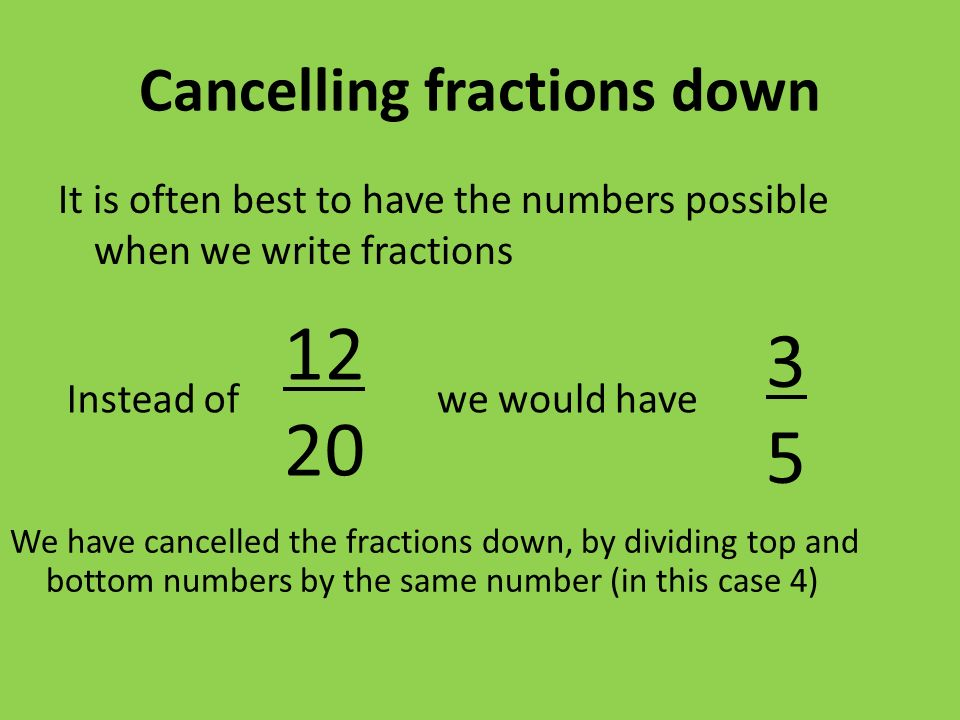 Cancelling fractions down It is often best to have the numbers possible when we write fractions Instead ofwe would have We have cancelled the fractions down, by dividing top and bottom numbers by the same number (in this case 4) 12 20 3535