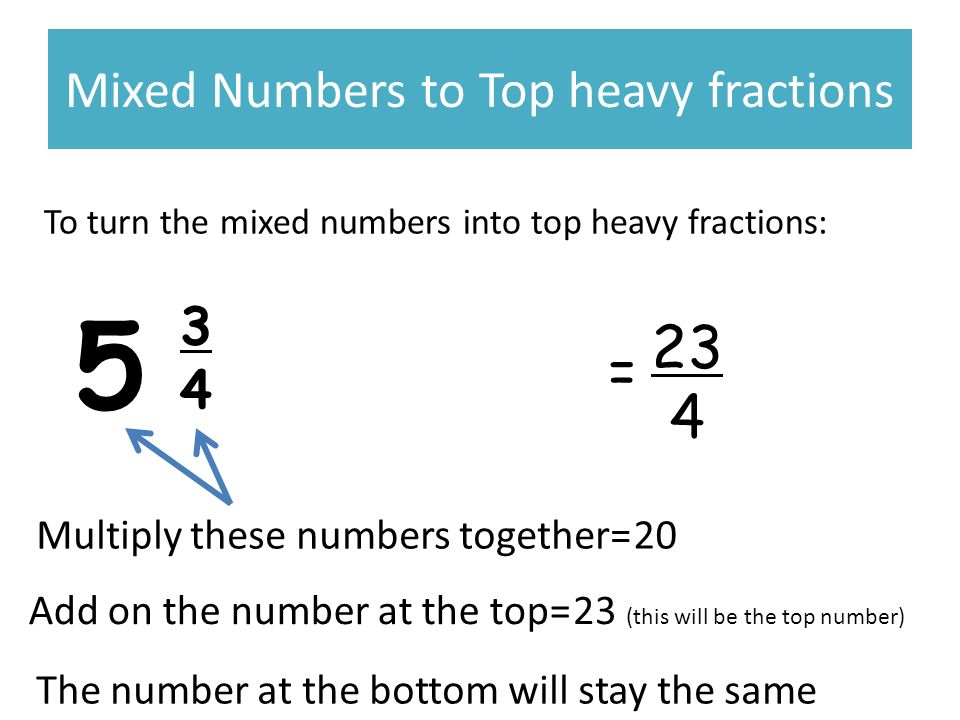 Mixed Numbers to Top heavy fractions To turn the mixed numbers into top heavy fractions: 5 3434 23 4 = Multiply these numbers together= Add on the number at the top= 20 23 (this will be the top number) The number at the bottom will stay the same