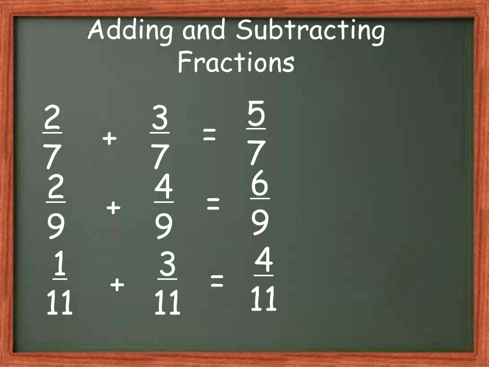 Adding and Subtracting Fractions 2727 3737 5757 + = 2929 4949 6969 + = 1 11 3 11 4 11 + =