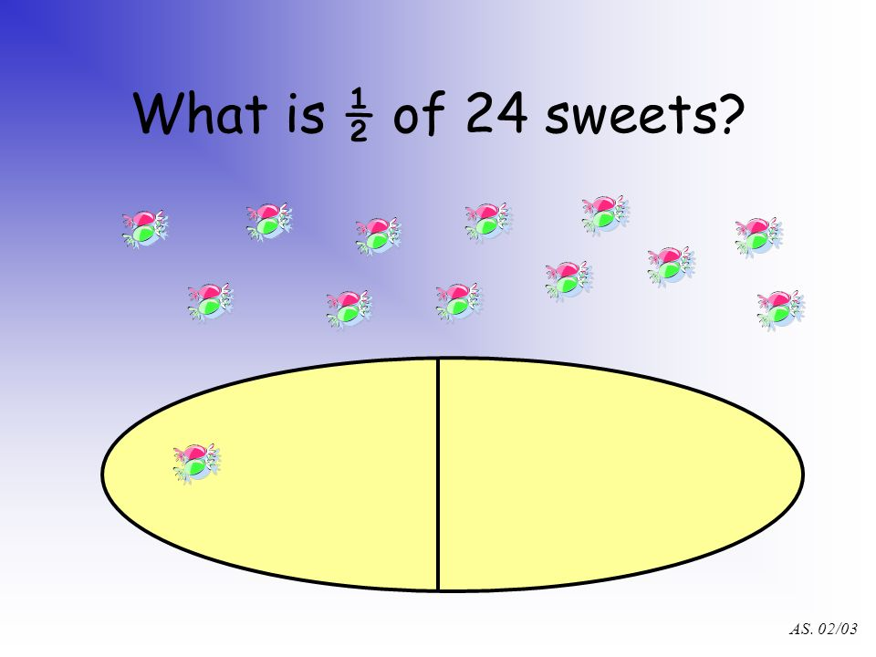 AS. 02/03 What is ½ of 24 sweets?