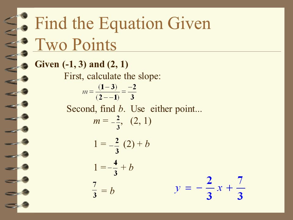 Find the Equation Given Two Points Given (-1, 3) and (2, 1) First, calculate the slope: Second, find b. Use either point... m =, (2, 1) 1 = (2) + b 1