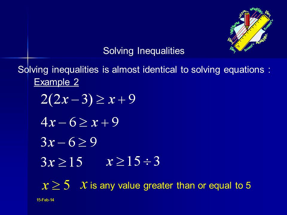 15-Feb-14 Solving inequalities is almost identical to solving equations : Solving Inequalities Example 2 x is any value greater than or equal to 5