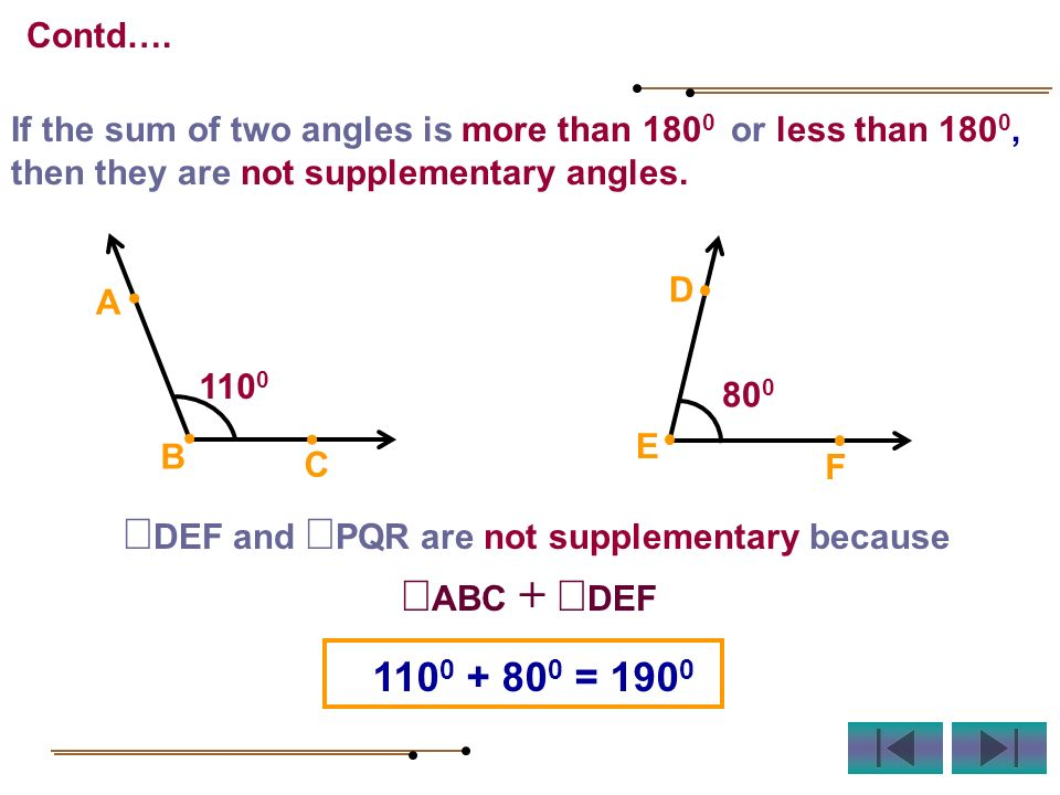 If the sum of two angles is more than 180 0 or less than 180 0, then they are not supplementary angles. DEF and PQR are not supplementary because ABC