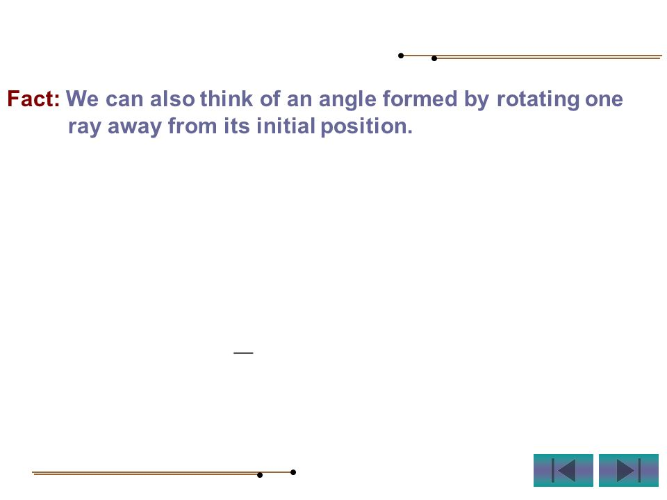 Fact: We can also think of an angle formed by rotating one ray away from its initial position.