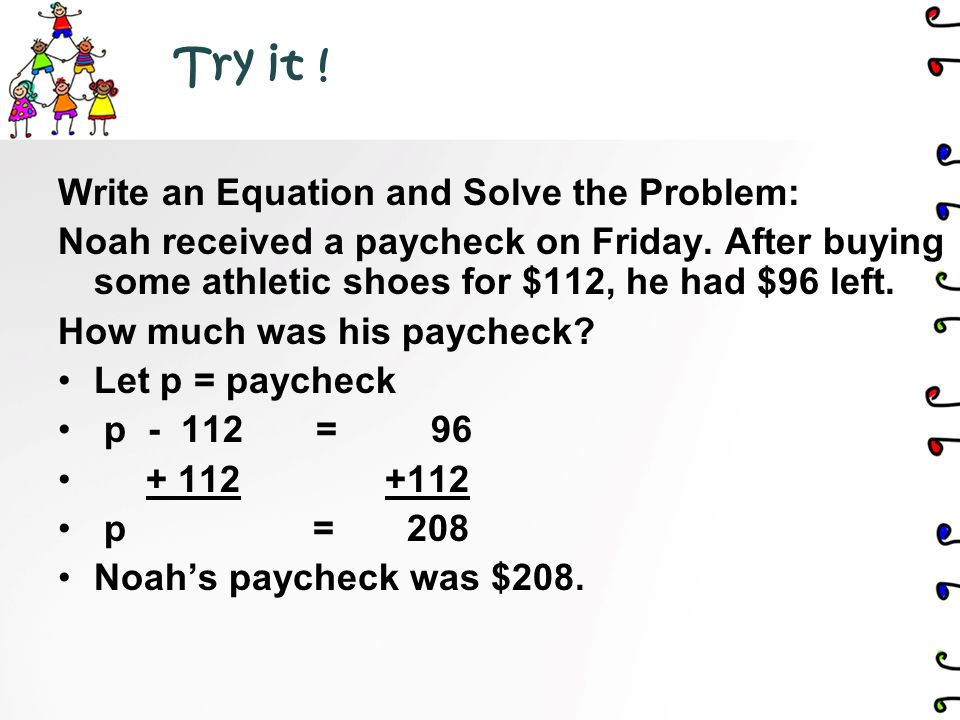 3.S olve the Problem use algebraic methods Show your work.
