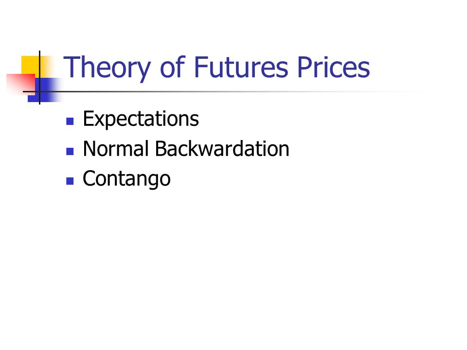 Theory of Futures Prices Expectations Normal Backwardation Contango