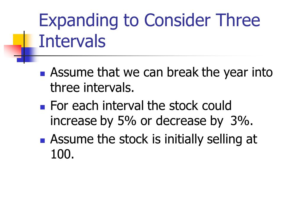 Expanding to Consider Three Intervals Assume that we can break the year into three intervals. For each interval the stock could increase by 5% or decr