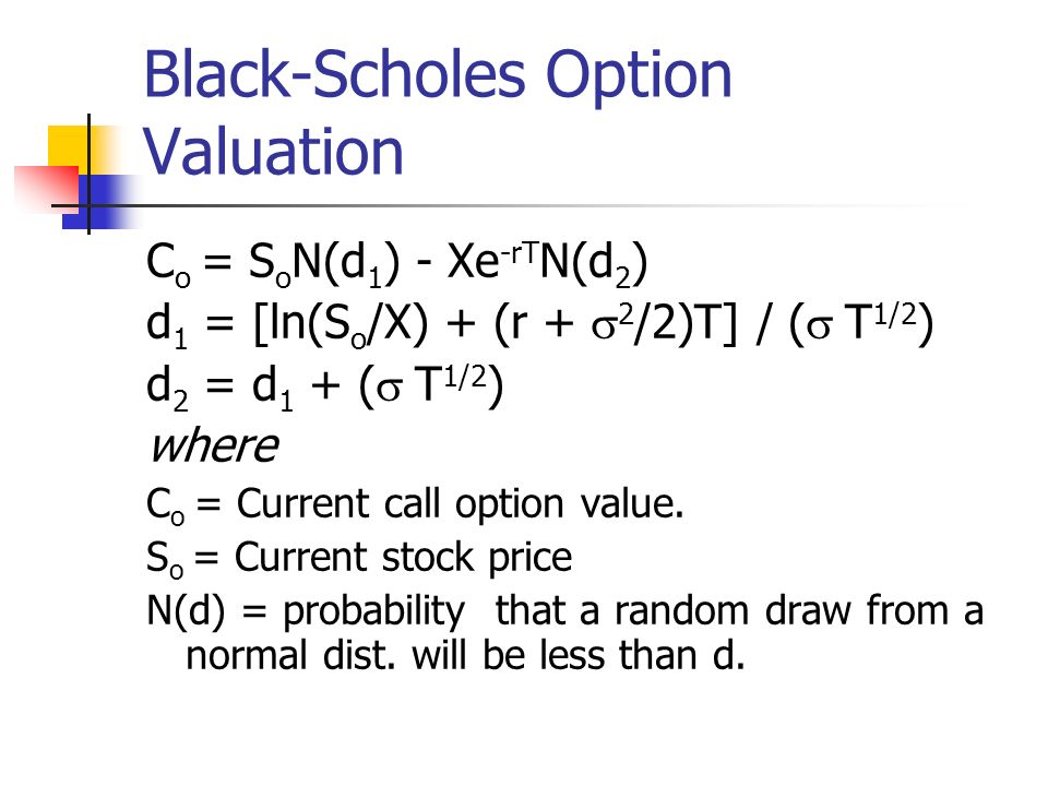 Black-Scholes Option Valuation X = Exercise price e = 2.71828, the base of the natural log r = Risk-free interest rate (annualizes continuously compounded with the same maturity as the option) T = time to maturity of the option in years ln = Natural log function Standard deviation of annualized cont.
