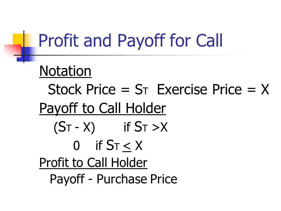 Profit and Payoff for Call Notation Stock Price = S T Exercise Price = X Payoff to Call Holder ( S T - X) if S T >X 0if S T < X Profit to Call Holder Payoff - Purchase Price