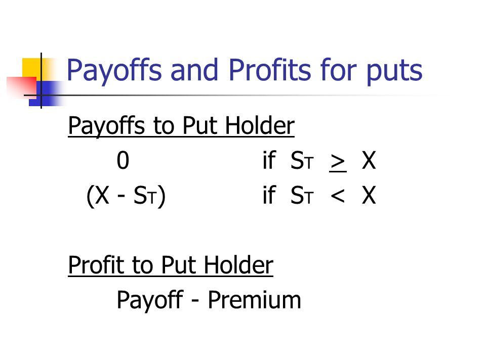 Payoffs and Profits for puts Payoffs to Put Writer 0if S T > X -(X - S T )if S T < X Profits to Put Writer Payoff + Premium