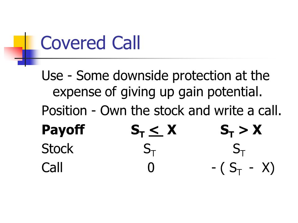 Covered Call Use - Some downside protection at the expense of giving up gain potential.