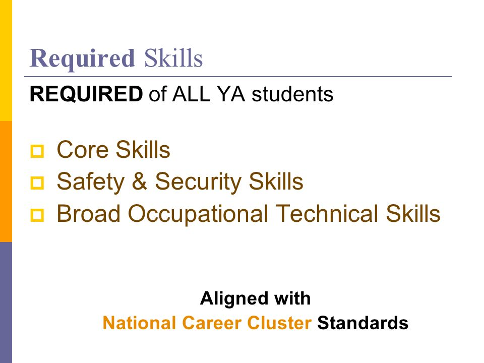 Required Skills REQUIRED of ALL YA students Core Skills Safety & Security Skills Broad Occupational Technical Skills Aligned with National Career Cluster Standards