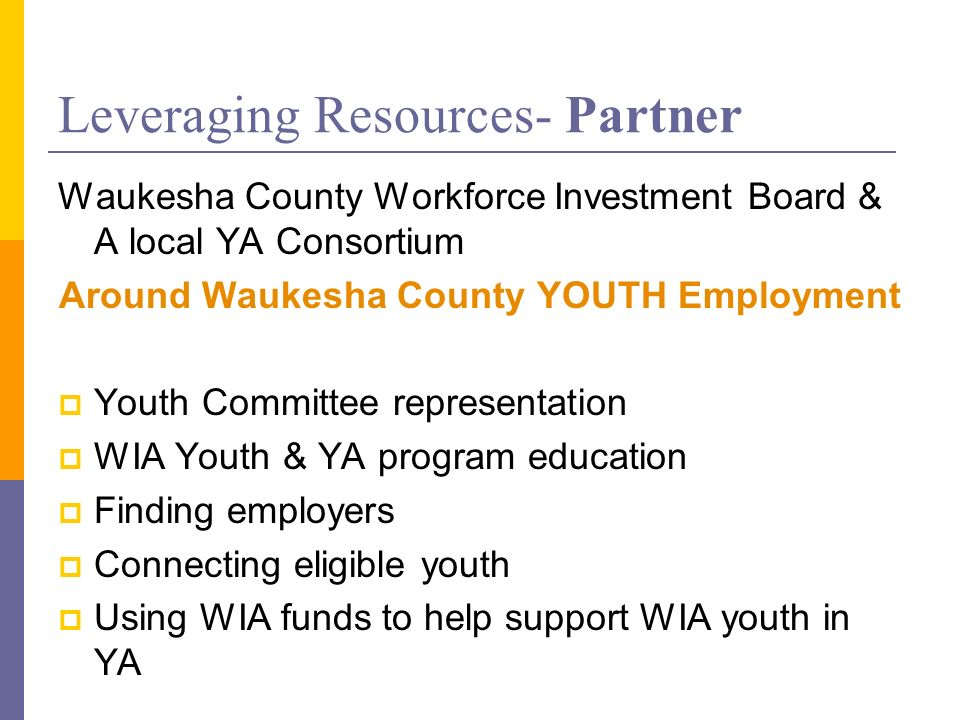 Leveraging Resources- Partner Waukesha County Workforce Investment Board & A local YA Consortium Around Waukesha County YOUTH Employment Youth Committee representation WIA Youth & YA program education Finding employers Connecting eligible youth Using WIA funds to help support WIA youth in YA