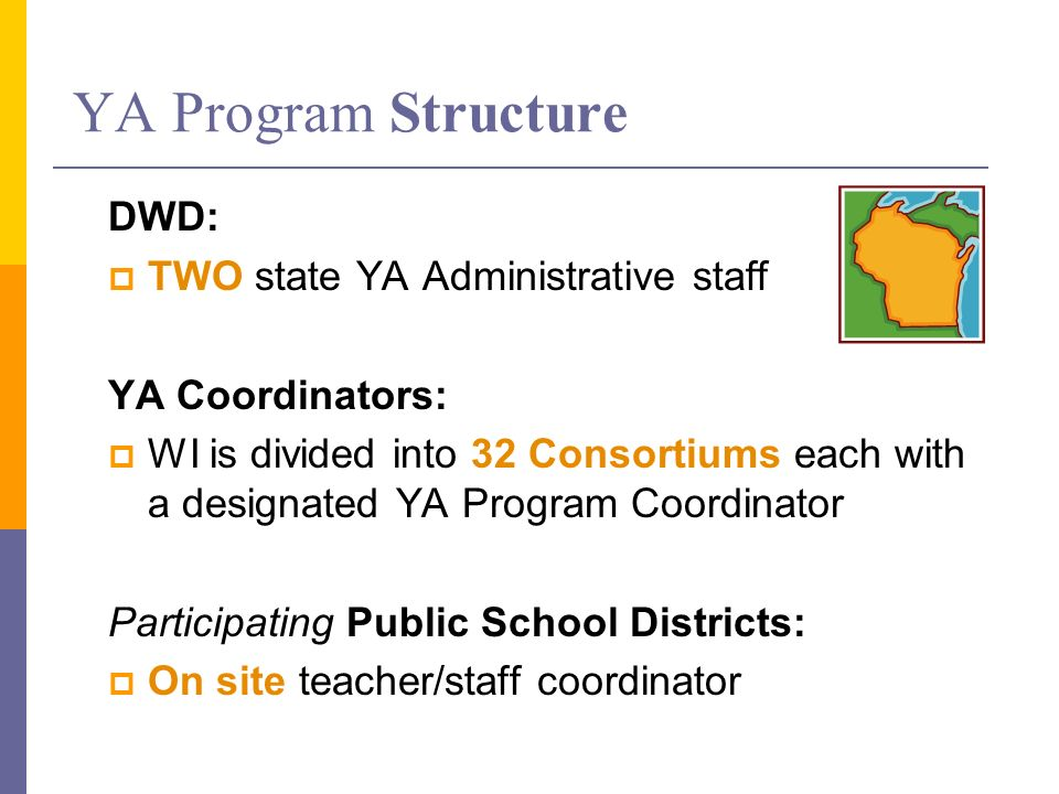 YA Program Structure DWD: TWO state YA Administrative staff YA Coordinators: WI is divided into 32 Consortiums each with a designated YA Program Coordinator Participating Public School Districts: On site teacher/staff coordinator