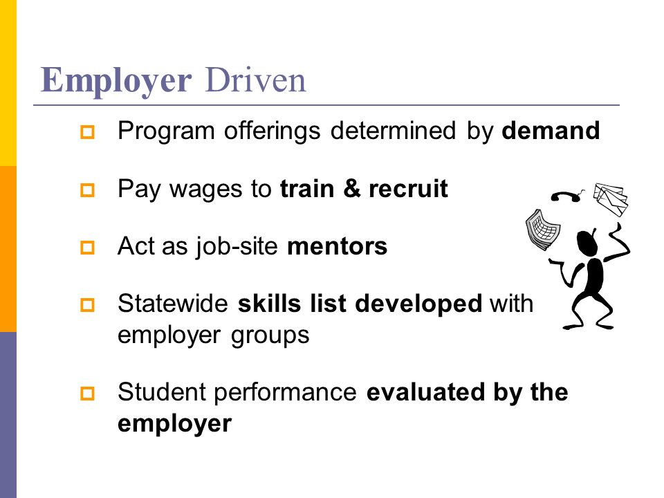 Employer Driven Program offerings determined by demand Pay wages to train & recruit Act as job-site mentors Statewide skills list developed with employer groups Student performance evaluated by the employer