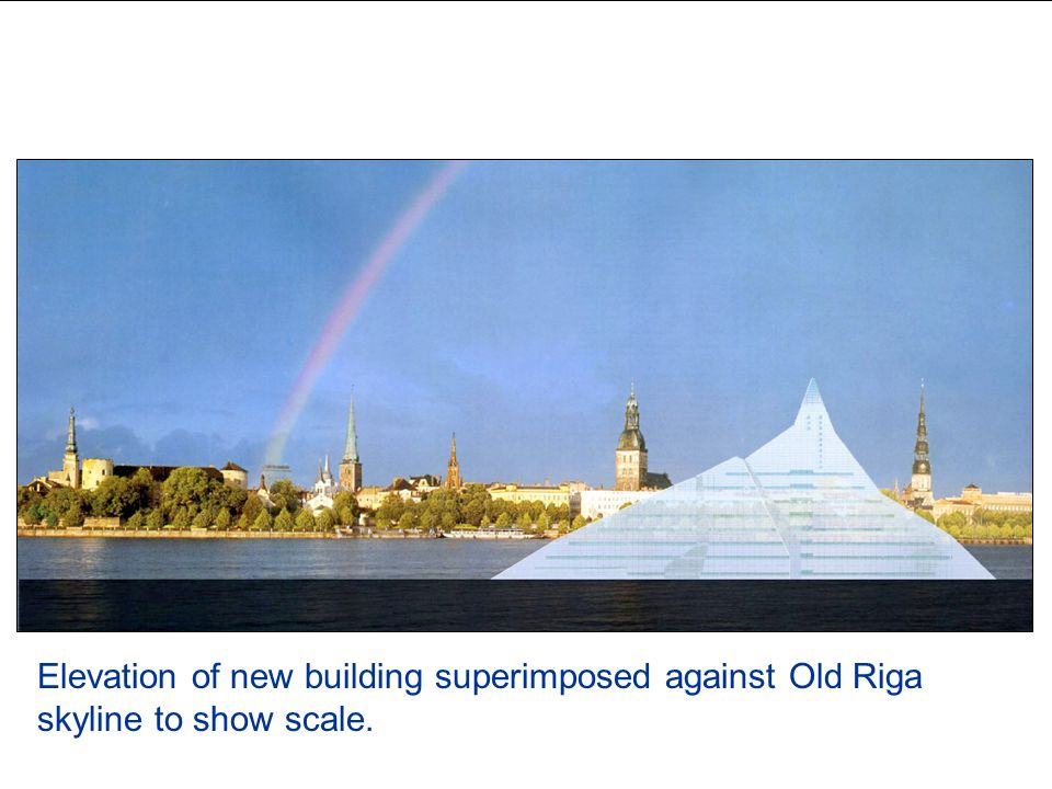 Elevation against skyline Elevation of new building superimposed against Old Riga skyline to show scale.