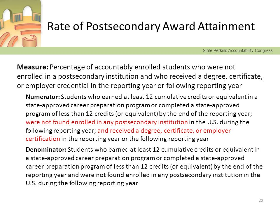 State Perkins Accountability Congress Rate of Postsecondary Award Attainment Measure: Percentage of accountably enrolled students who were not enrolle