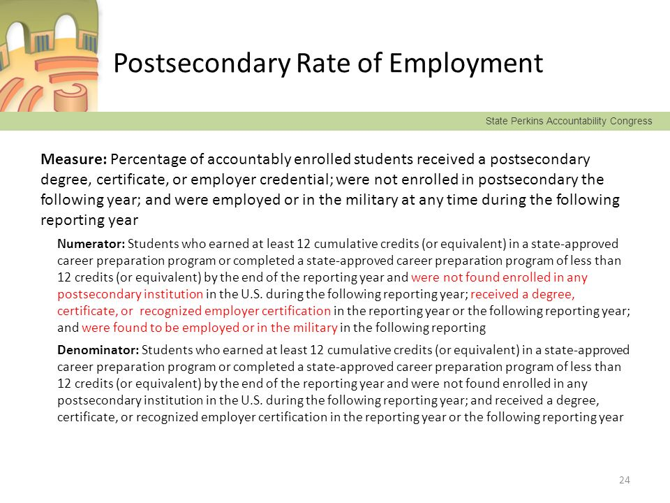 State Perkins Accountability Congress Postsecondary Rate of Employment Measure: Percentage of accountably enrolled students received a postsecondary d