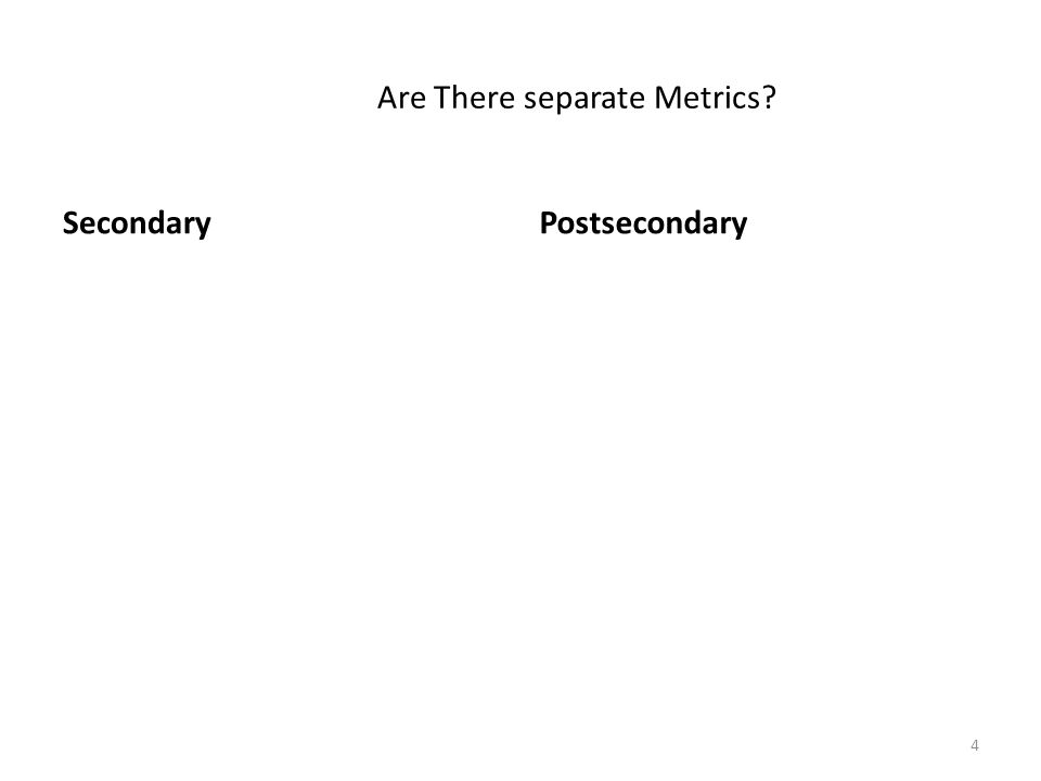 Are There separate Metrics? SecondaryPostsecondary 4
