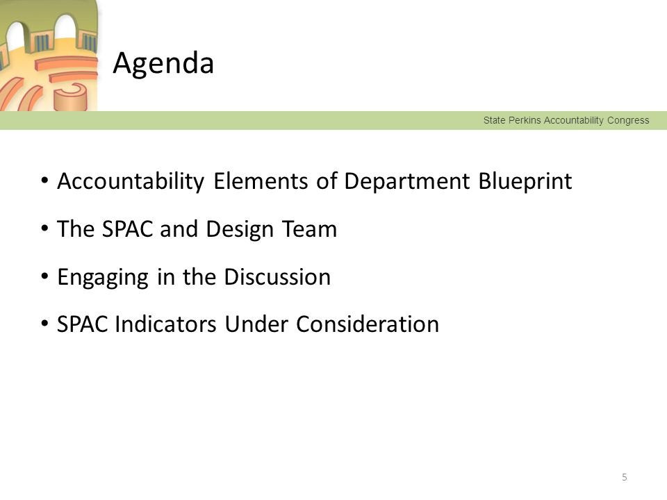 State Perkins Accountability Congress Agenda Accountability Elements of Department Blueprint The SPAC and Design Team Engaging in the Discussion SPAC