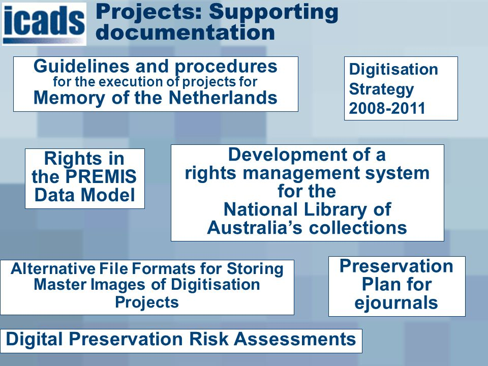 Guidelines and procedures for the execution of projects for Memory of the Netherlands Projects: Supporting documentation Digitisation Strategy 2008-2011 Alternative File Formats for Storing Master Images of Digitisation Projects Digital Preservation Risk Assessments Preservation Plan for ejournals Rights in the PREMIS Data Model Development of a rights management system for the National Library of Australias collections