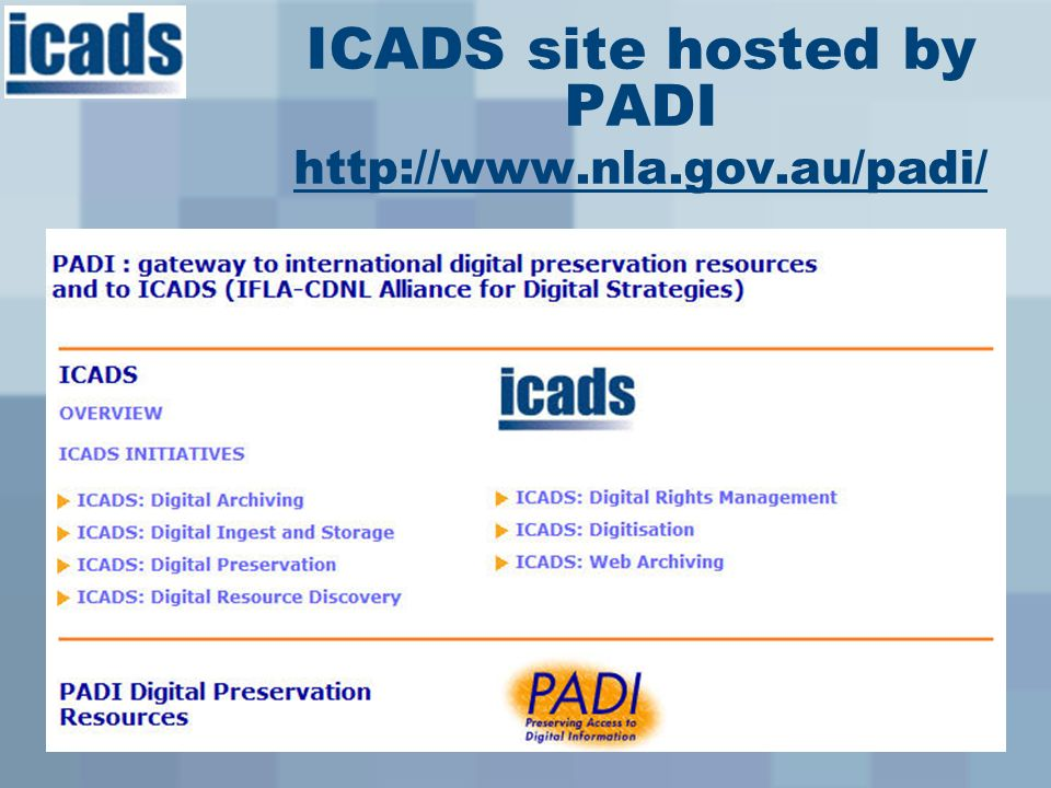 ICADS site hosted by PADI http://www.nla.gov.au/padi/