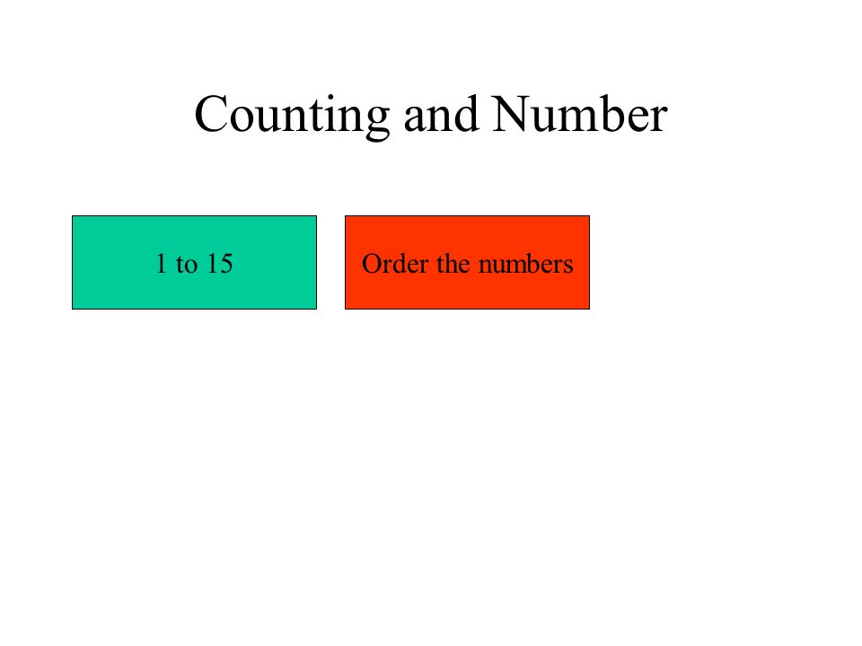 Counting and Number 1 to 15Order the numbers