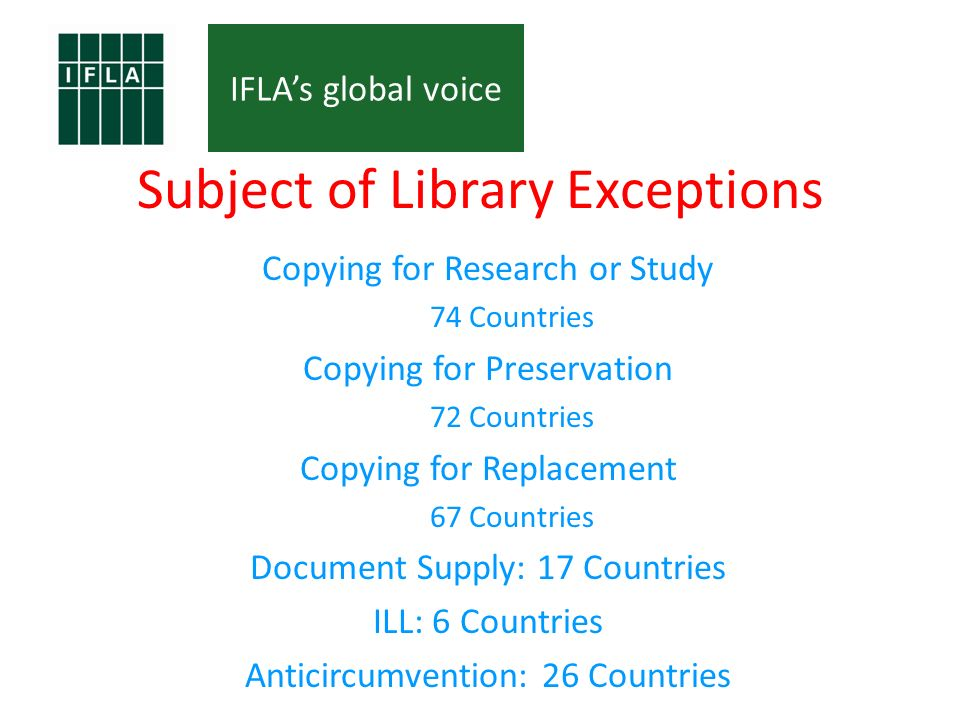 IFLAs global voice Subject of Library Exceptions Copying for Research or Study 74 Countries Copying for Preservation 72 Countries Copying for Replacement 67 Countries Document Supply: 17 Countries ILL: 6 Countries Anticircumvention: 26 Countries