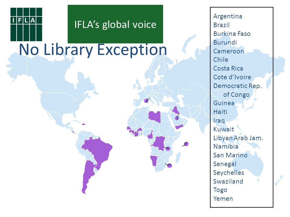 9 No Library Exception Argentina Brazil Burkina Faso Burundi Cameroon Chile Costa Rica Cote dIvoire Democratic Rep.