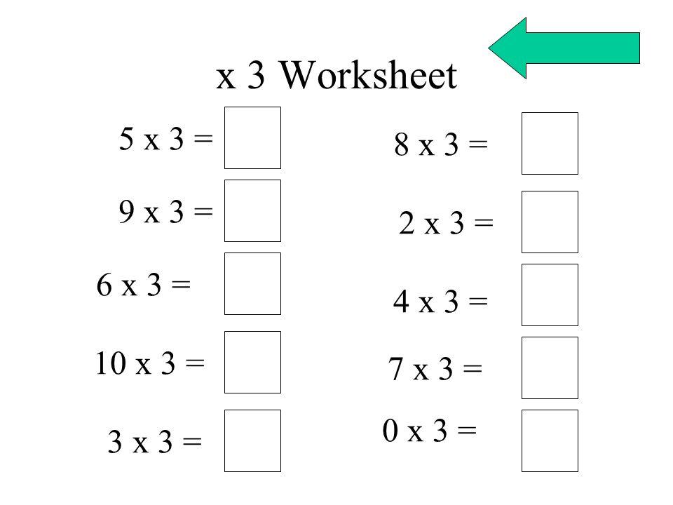 x 3 Worksheet 5 x 3 = 9 x 3 = 6 x 3 = 10 x 3 = 3 x 3 = 8 x 3 = 2 x 3 = 4 x 3 = 7 x 3 = 0 x 3 =