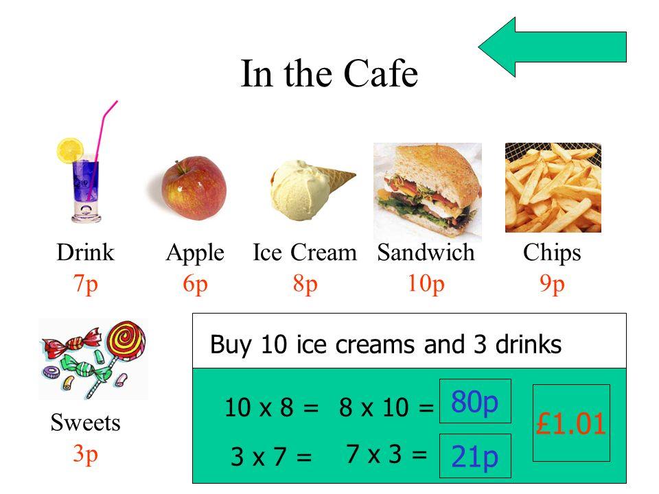 In the Cafe Drink 7p Apple 6p Ice Cream 8p Sandwich 10p Chips 9p Sweets 3p Buy 10 ice creams 10 x 8 = 8 x 10 = 80p 3 x 7 = 7 x 3 = 21p £1.01 and 3 dri