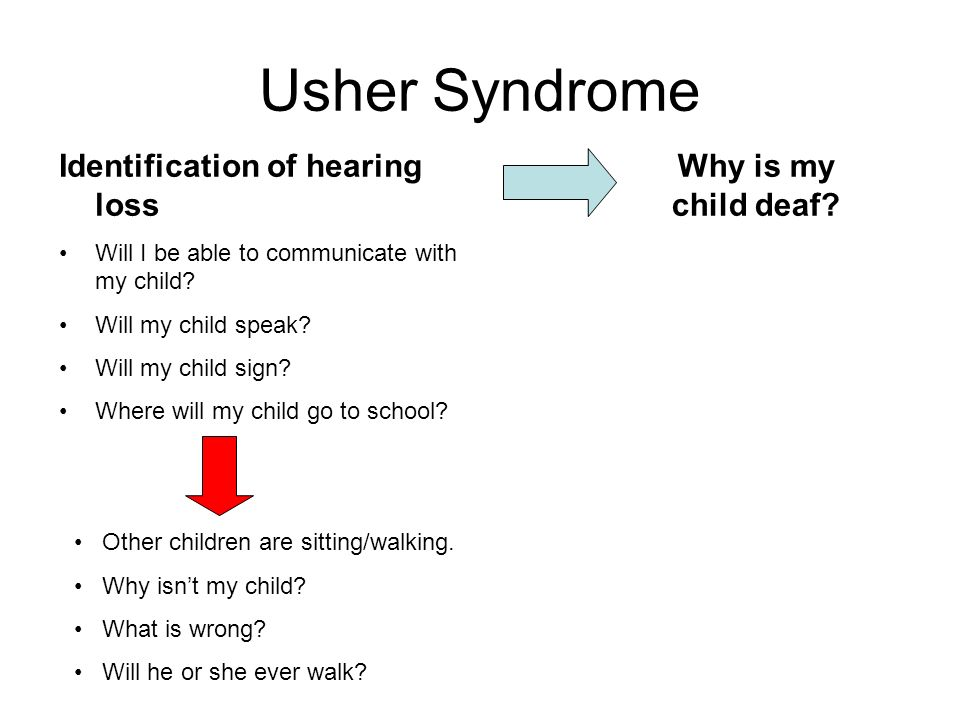 Usher Syndrome Why is my child deaf? Identification of hearing loss Will I be able to communicate with my child? Will my child speak? Will my child si