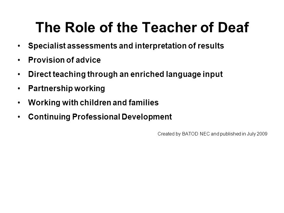Supporting parents Why is my child deaf.Identification of hearing loss What can my child hear.