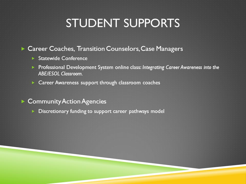 STUDENT SUPPORTS Career Coaches, Transition Counselors, Case Managers Statewide Conference Professional Development System online class: Integrating Career Awareness into the ABE/ESOL Classroom.