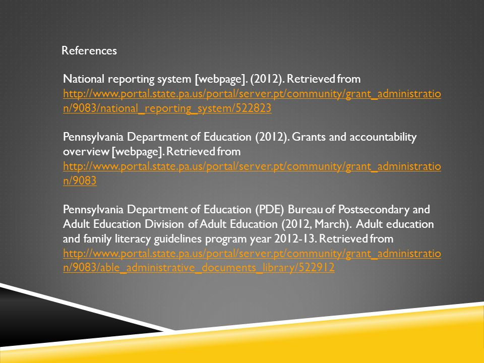References National reporting system [webpage]. (2012).