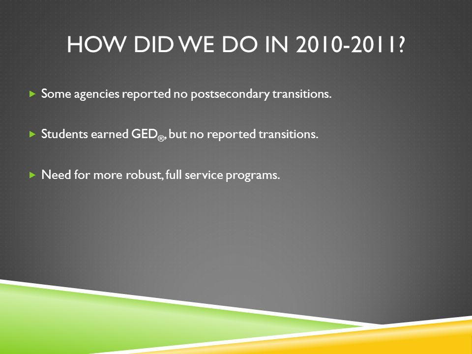 HOW DID WE DO IN 2010-2011. Some agencies reported no postsecondary transitions.