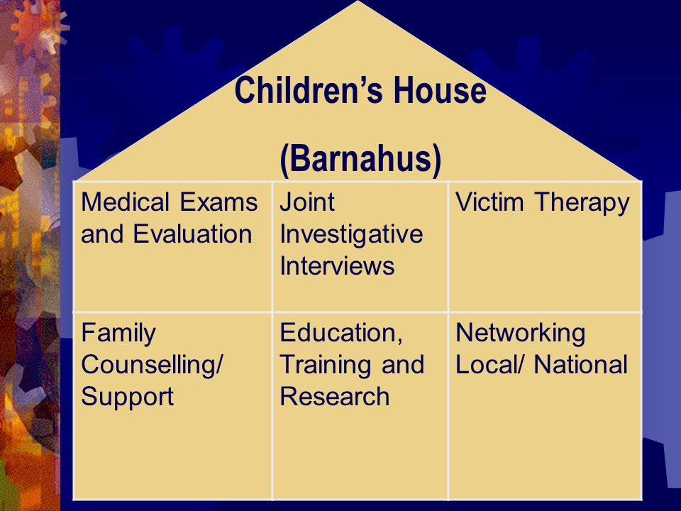 Childrens House (Barnahus) Medical Exams and Evaluation Joint Investigative Interviews Victim Therapy Family Counselling/ Support Education, Training and Research Networking Local/ National