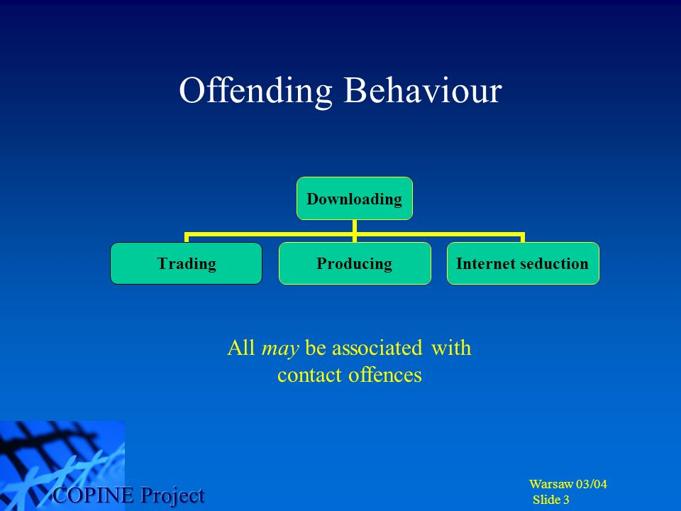 Warsaw 03/04 Slide 3 Offending Behaviour Downloading TradingProducing Internet seduction All may be associated with contact offences