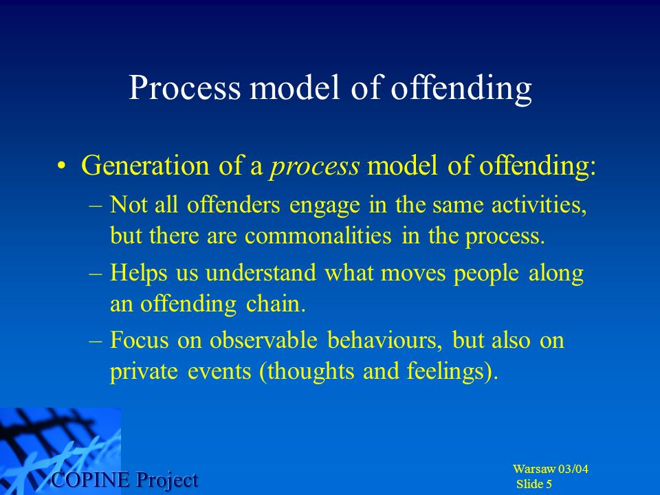 Warsaw 03/04 Slide 6 Probability of Risk Passive collecting Active collecting Social engagement Offline activity Facilitating/enabling social environment Are these critical points for concern in contact offending.
