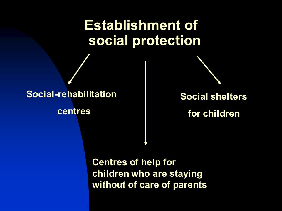 Establishment of social protection Social-rehabilitation centres Social shelters for children Centres of help for children who are staying without of care of parents